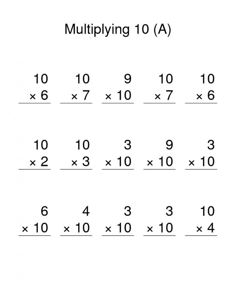 Multiplication Chart 10 Worksheet for Kids