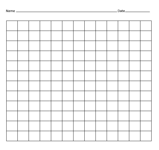 Blank 12x12 Multiplication Chart