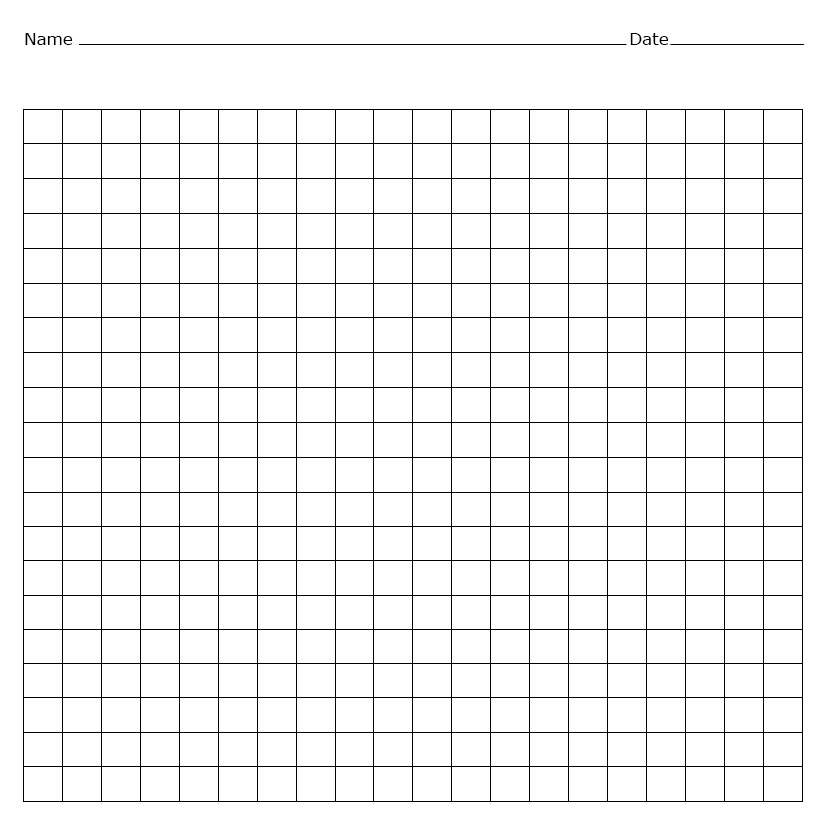 Blank Multiplication Chart 20x20