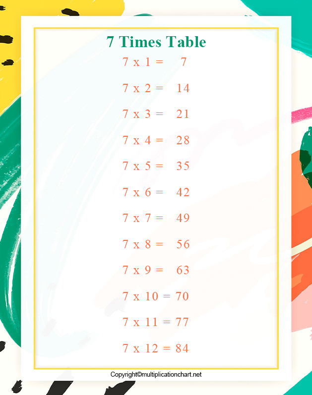 Multiplication table 7